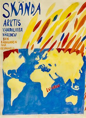 En karta med texten skända arktis vandalisera världen