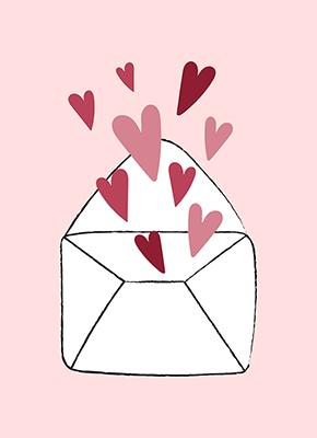Ett kuvert mot rosa bakgrund med en massa hjärtan som kommer ur det.