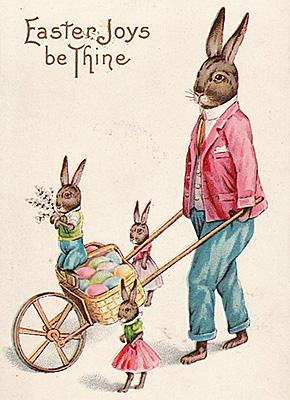 En kanin med små kaniner i en skottkärra och texten easter joys be thine