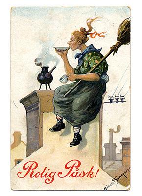En påskärring sittandes på en skorsten med kvast i famnen drickandes ur ett fat.