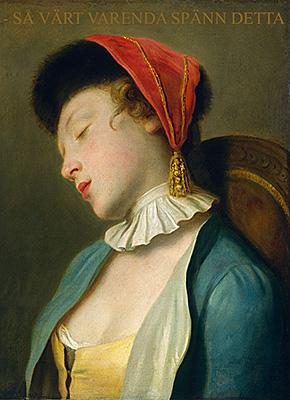 En barock tavla med en sovande modell som säger: så värt varenda spänn detta